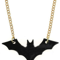 Black Bat Gold Long Necklace - Sheinside.com