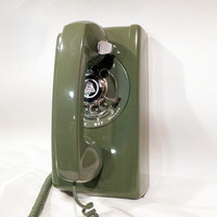 WORKING- Green Rotary Wall Phone