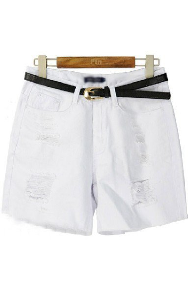 White High Waist Ripped Flange Shorts - Sheinside.com