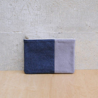 Wool & Leather Pouch in Cadet Blue/Taupe/Nude By Brook&Lyn x William Okpo