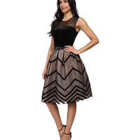 Jessica Howard Sleeveless Sweetheart Illusion Neckline Dress with Belt & Pleated Skirt