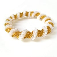 Gold Spiral Bracelet, Twisted Bead Rope Bracelet, Seed Bead Jewellery, Bead Woven Jewelry, Under 50