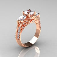 18K Rose Gold Three Stone Diamond Cubic Zirconia Solitaire Ring R200-18KRGDCZ