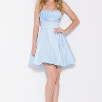 Light Blue Pleated Perfection Strapless Cocktail Dress - Unique Vintage - Homecoming Dresses, Pinup &amp; Prom Dresses.