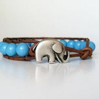 Elephant Leather Wrap Bracelet -  Good Luck Elephant Button - Turquoise