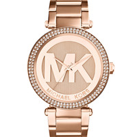 Mid-Size Rose Golden Stainless Steel Parker Chronograph Glitz Watch - Michael Kors - Rose gold