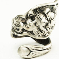 Lovely Figural Evangeline with Poppies Sterling Silver Spoon Ring, Handmade in Your Size (2813)