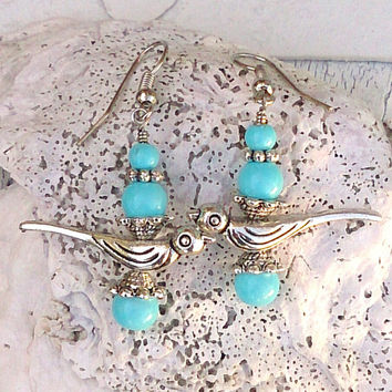 Aqua Tiffany Blue Bird Earrings Antique Silver Earring