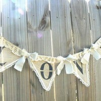 LOVE Shabby Romantic Wedding Banner of Burlap vintage style