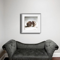12x12 Minimalist Nature Decor Brown Pinecones Grey Woodland Decor - Cottage Chic Shabby Chic Rustic Home Decorating Square Print.