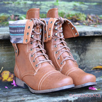 Southern Pines Whisky Tribal Combat Boots-OUT OF BOX