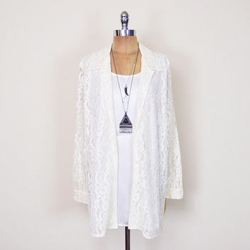 Vintage 80s 90s Ivory Lace Blouse Sheer Lace Shirt Lace Top Lace Tunic Lace Dress Mini Dress Slouchy Oversize Boho Wedding Women L Large