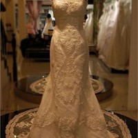Awesome Sheath Satin Lace Semi Cathedral Wedding Dress WDRL091
