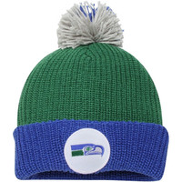 Seattle Seahawks Mitchell & Ness Throwback Retro Cuffed Knit Hat with Pom – Green - http://www.shareasale.com/m-pr.cfm?merchantID=7124&userID=1042934&productID=551836494 / Seattle Seahawks