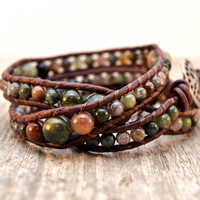 Graduated leather wrap bracelet - Bohemian beaded bracelet