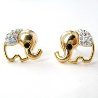 Small Elephant Animal Outline Stud Earrings in Gold with Rhinestones