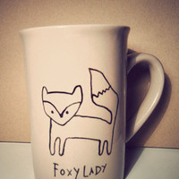 Fox &amp; Owl hand drawn mug by Mr Teacup by MrTeacup on Etsy