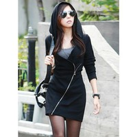 Black Cotton Women Fashion Oblique Zipper Long Hoddies T-shirt @T3078