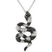 Sterling Silver CZ Snake Necklace | SilverBin