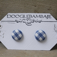 Dorothy Design- Vintage Navy Blue &amp; White Gingham Checkered Plaid Stripes Lines Fabric Button Earrings- Picnic Wedding Oz Picnic