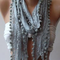 Grey  Lace and Elegant Shawl  Scarf