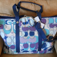 NWT Coach XL Kyra Scarf Print Travel Carry On Bag Tote 77285 w/Coin Purse 61472 - Handbags & Bags