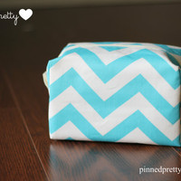 Large Makeup and Cosmetic Bag in Aqua Chevron