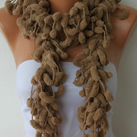 Dark Beige Scarf Pompom Scarves - Knitting Cowl Crochet Scarf - fatwoman