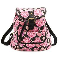 Skulls & Roses Canvas Backpack: Charlotte Russe