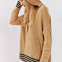 BDG Striped Henley Hooded Top- Ivory