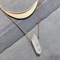 Collective Crystal Layer Necklace- Clear One