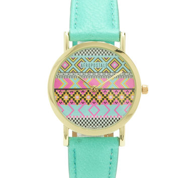 Aeropostale  Southwest Faux Leather Watch - Gold, One