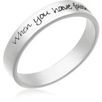 "Sterling Silver ""When You Have Faith,Anything is Possible"" Ring: Jewelry: Amazon.com"