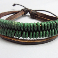 Fashion leather bracelet woven bracelet men bracelet women bracelet made of leather and green ropes wrist bracelet  338S
