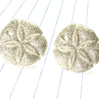 sand dollar earrings - sand dollars - sand dollar jewelry - sand dollar studs - beach earrings - beach jewelry - beach - glitter earrings