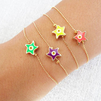 Neon evil eye bracelets, neon bracelets, starfish jewelry, evil eye bracelets, evil eye jewelry, best friend birthday, gifts for women
