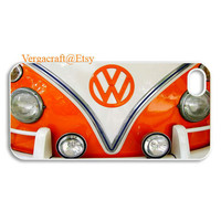 iphone 5 case Cute Zoom Front view Orange mini bus volkswagen Apple iPhone 5 White case, option: Black case available