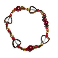 Red and Bronze Heart Beaded Bracelet, heart jewelry, beaded bracelets
