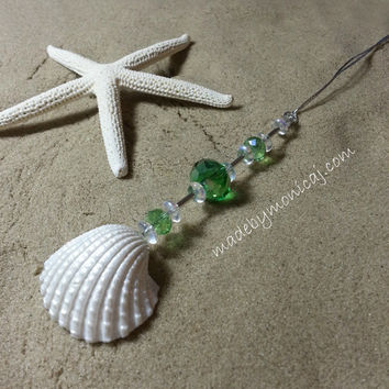 Rear View Mirror Charm.  White Ark Shells with Green Crystal Beads. Sun Catcher