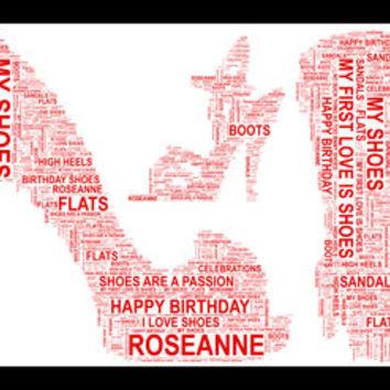 Shoe And Boot Shaped Personalised Word Art Print