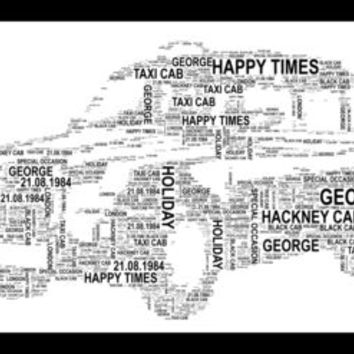 Taxi Cab Shaped Word Art