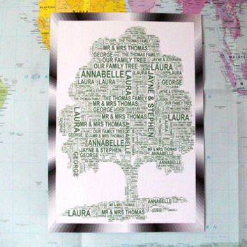 Personalised Family Tree Shaped Word Art