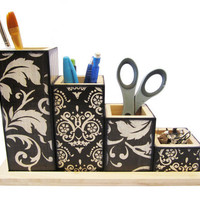 Desk Organizer MADE TO ORDER Handmade decoupage by ErinsArtwork