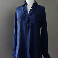 Vintage Silk Button Down Blouse - ASCOT COMPANY  Navy Blue Long Silk Shirt