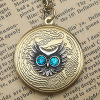 Steampunk Owl (52201) Locket Necklace Vintage Style Original Design