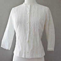 1950s Vintage Lace Button Down Blouse