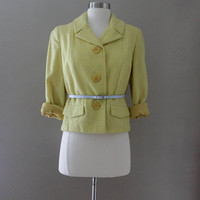 Yellow Cropper Wool Blazer - Boucle Designer Jacket