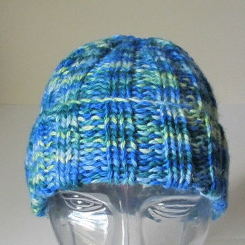100% Baby Alpaca Knit Watch Cap, Hat, Ocean Colors, Blue Green Gold Ombre, Men or Women, Unisex, Handmade