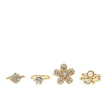 Rhinestone Flower Rings - 5 Pack by Charlotte Russe - Gold