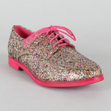 Diva Lounge Jennifer-06 Glitter Lace Up Oxford Flat